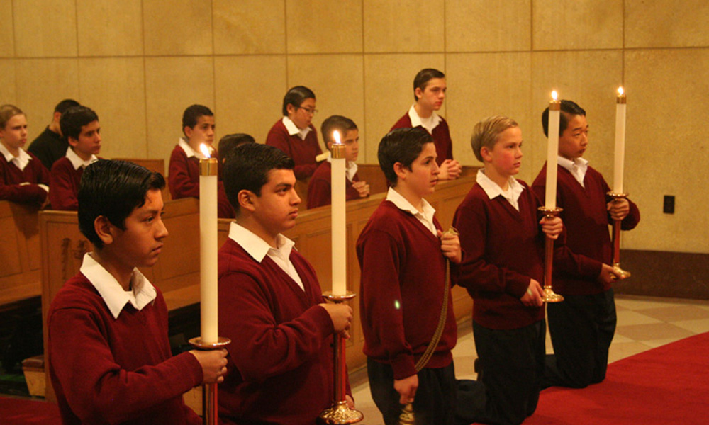 Boys at Morning Mass